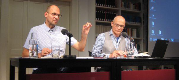 """Hinrich Schmidt-Henkel und Frank Heibert bei den """"Stilübungen"""" im Literaturhaus München am 14.7.2016"""